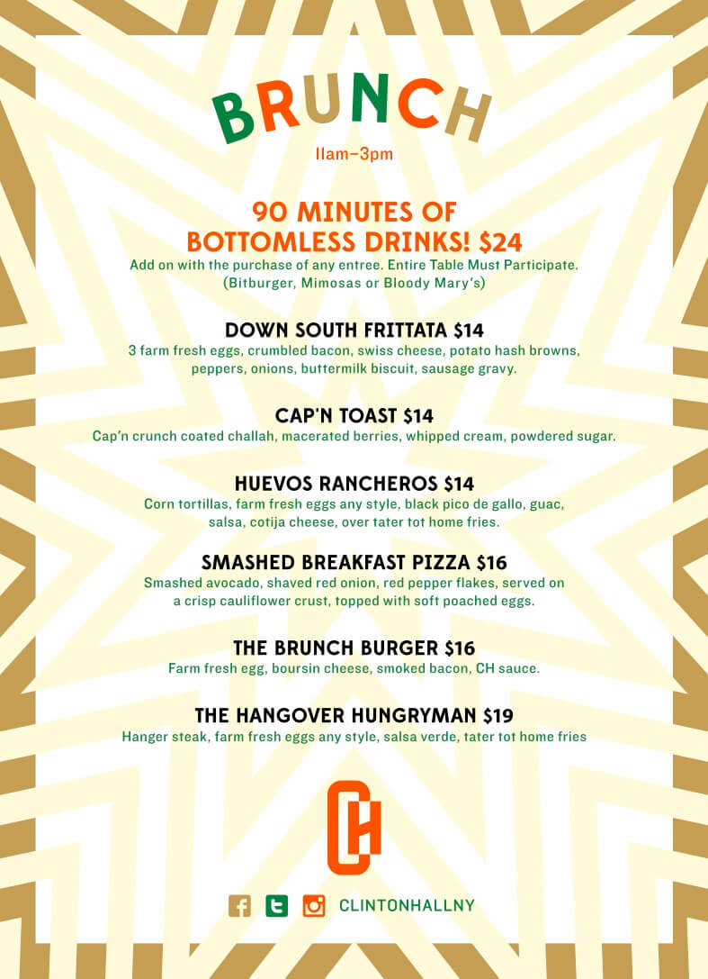 Clinton Hall 36 Brunch Menu