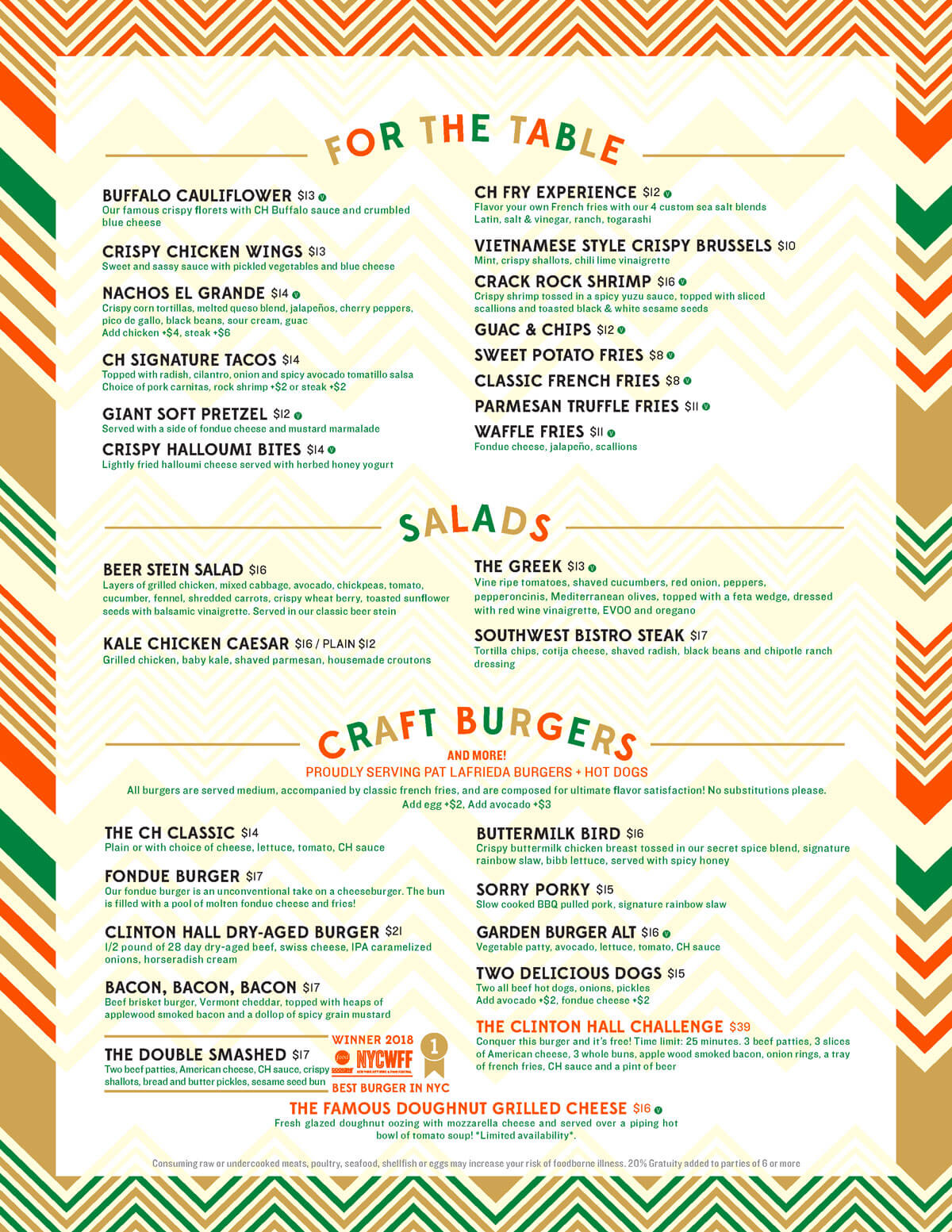 Clinton Hall 36 Food Menu