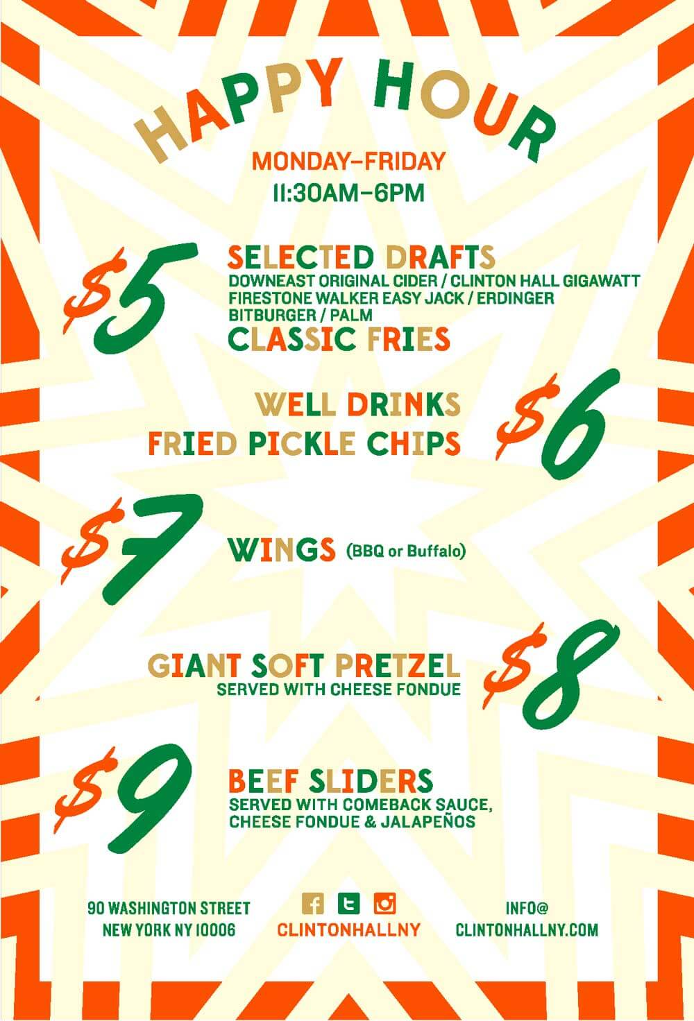 Clinton Hall FiDi Happy Hour Menu