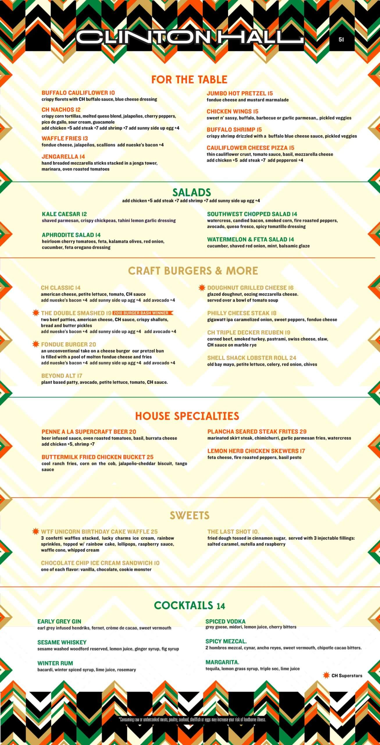 Clinton Hall 51 Food Menu